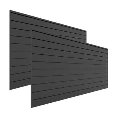 48 in. H x 96 in. W Slat Wall Panel Set Charcoal (2-Pack)