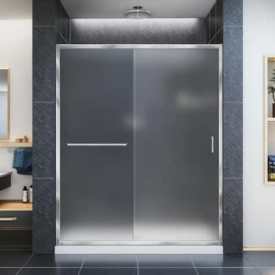 Infinity-Z 56 to 60 in. x 72 in. Semi-Frameless Sliding Shower Door in Chrome