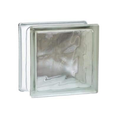 Nubio 4 in. Thick Series 8 in. x 8 in. x 4 in. (8-Pack) Wave Pattern Glass Block (Actual 7.75 x 7.75 x 3.88 in.)