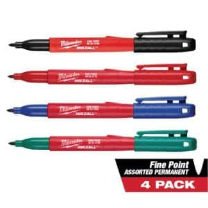 INKZALL Multi-Colored Fine Point Jobsite Permanent Markers (4-Pack)