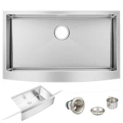 Stainless Steel 36 in. x 22 in. Single Bowl Farmhouse Apron Kitchen Sink with Strainer and Hardware