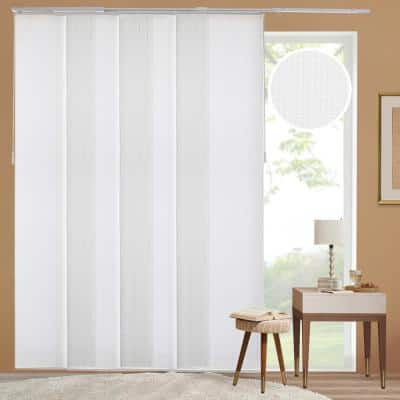 Ballroom Cut-to-Size White Light Filtering Adjustable Sliding Panel Track Blind w/23 in. Slats Up to 86 in. W x 96 in. L