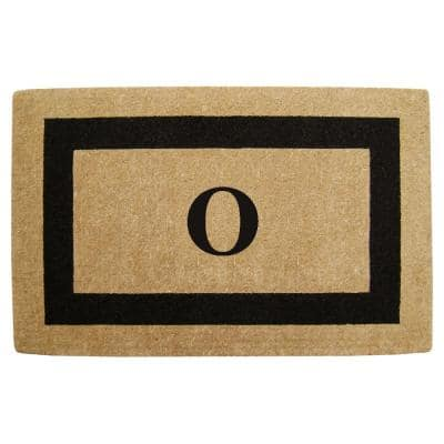 Single Picture Frame Black 22 in. x 36 in. HeavyDuty Coir Monogrammed O Door Mat