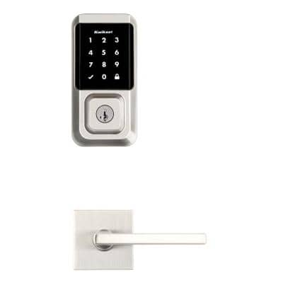 HALO Satin Nickel Electronic Smart Lock Deadbolt Feat SmartKey Security, Touchscreen and Wi-Fi w/ Halifax Lever