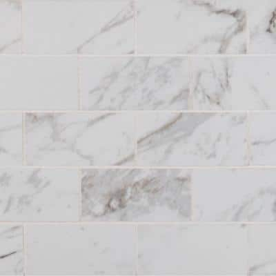 Msi Carrara 12 In X 12 In X 10 Mm Polished Porcelain Mesh Mounted Mosaic Tile 8 Sq Ft Case Npiecar2x4p The Home Depot