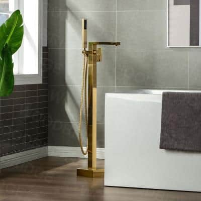 Zurich Single-Handle Freestanding Tub Faucet with Hand Shower in Brushed Gold