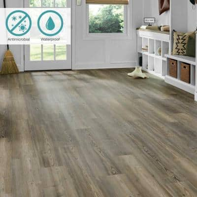 Defense+ 7.5 in. W Classic Weathered Pine Antimicrobial Click Lock Luxury Vinyl Plank Flooring (17.43 sq. ft./case)