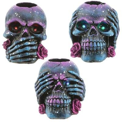 Purple Galaxy Skull Candleholder Assortment (Set of 3)