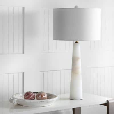 Delilah 30 in. White Marble Alabaster Table Lamp with Off-White Shade