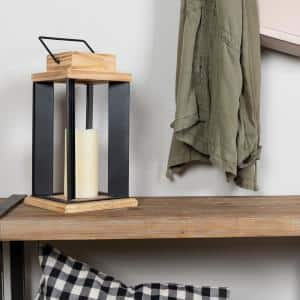 Natural Wood and Black Metal Open Lantern
