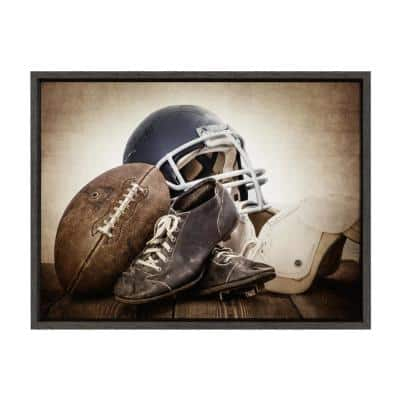 """Sylvie """"Vintage Football Gear"""" by Saint and Sailor Studios Sports Framed Canvas Wall Art 24 in. x 18 in."""