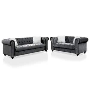 Norien 2-Piece Gray Sofa Set