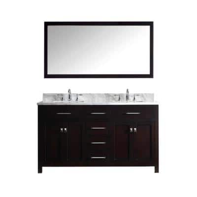 Caroline 60 in. W Bath Vanity in Espresso with Marble Vanity Top in White with Square Basin and Mirror and Faucet