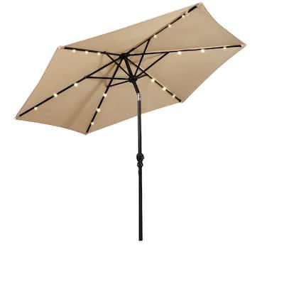 9 Ft Solar Lighted Patio Umbrellas Patio Furniture The Home Depot