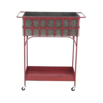 Farmhouse 32 in. x 27 in. Iron and Aluminum Rolling Planter