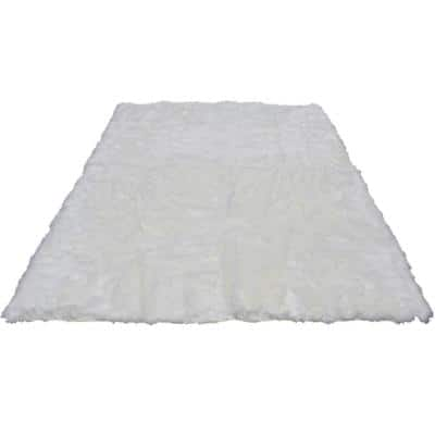8 ft. x 10 ft. WhiteFaux Fur Area Rug Luxuriously Soft and Eco Friendly