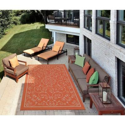 Home and Garden Pavilion Orange 8 ft. x 11 ft. Floral Transitional Indoor/Outdoor Area Rug
