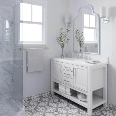 Bayhill 49 in. W x 22 in. D Bath Vanity in White with Quartz Vanity Top in White with White Basin