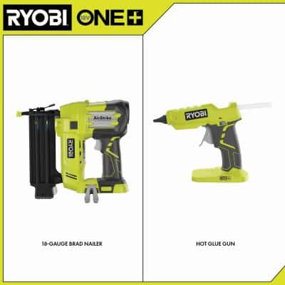 ONE+ 18V Cordless AirStrike 18-Gauge Brad Nailer and ONE+ 18V Hot Glue Gun 2-Tool Combo Kit