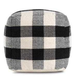 20 in. x 20 in. x 20 in. Chinese Checkers Ivory and Black Pouf