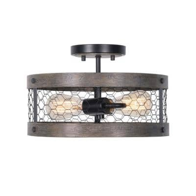 Cozy 2-Light Wood and Oil Rubbed Bronze Semi-Flush Mount Light