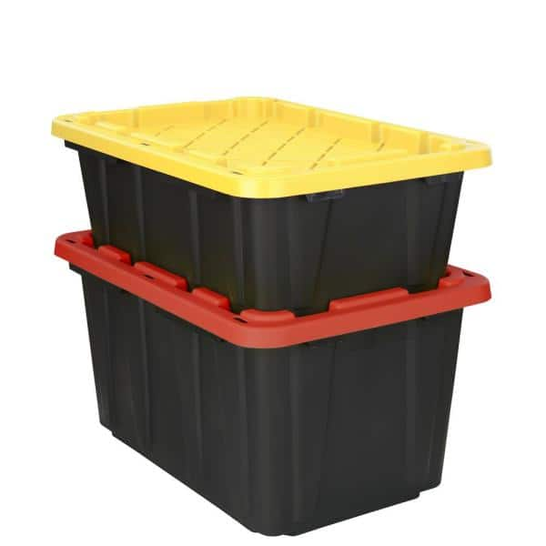 Hdx 14 Gal Tough Storage Tote In Black, Home Depot Storage Baskets