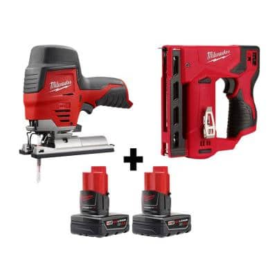 M12 12-Volt Lithium-Ion Cordless Jig Saw and Crown Stapler with two 3.0 Ah Batteries