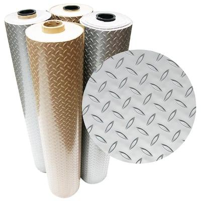 Diamond-Plate Metallic 4 ft. x 4 ft. Silver PVC Flooring (16 sq. ft.)