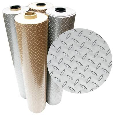 Diamond-Plate Metallic 4 ft. x 7 ft. Silver PVC Flooring (28 sq. ft.)