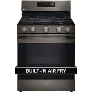 5.8 cu. ft. Smart Fan Convection Gas Single Oven Range with Air Fry and EasyClean in Printproof Black Stainless Steel