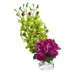 Indoor Rose and Dendrobium Orchid Artificial Arrangement