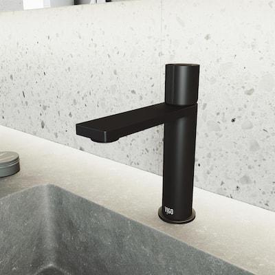 Halsey Single-Handle Single Hole Bathroom Faucet in Matte Black
