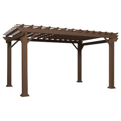 Ashford 14 ft. x 10 ft. Brown Steel Traditional Pergola