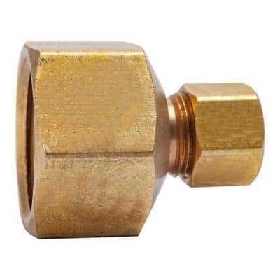 3/8 in. O.D. Comp x 3/4 in. FIP Brass Compression Adapter Fitting (5-Pack)