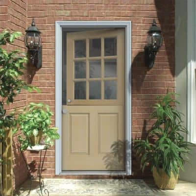 36 in. x 80 in. 9 Lite Unfinished Wood Prehung Right-Hand Inswing Dutch Back Door w/Primed AuraLast Jamb and Brickmold