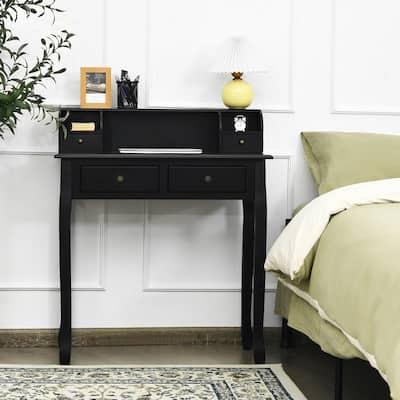 31.5 in. Black Rectangle Wood 4-Drawer Writing Desk