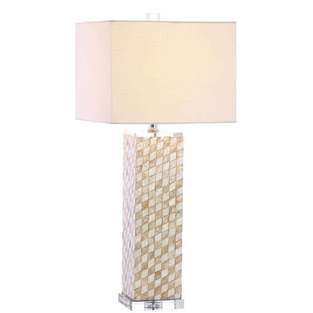 Jonathan Y Daniel 30 5 In Cream Seashell Crystal Led Table Lamp Jyl1048a The Home Depot
