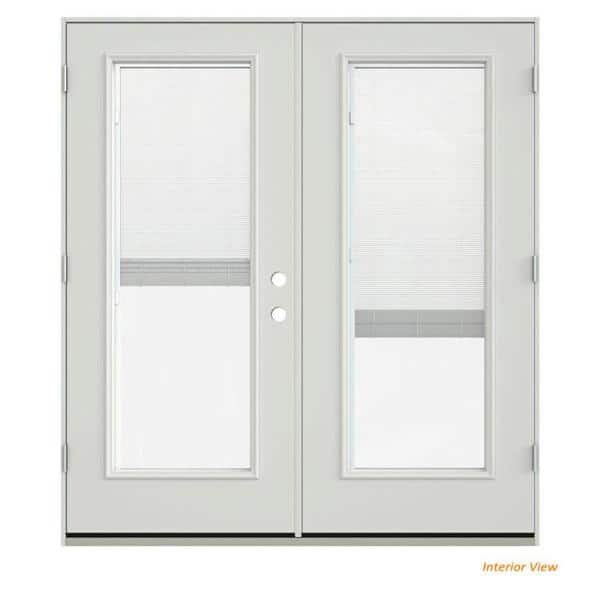 Jeld Wen 72 In X 80 In Primed Steel Right Hand Inswing Full Lite Glass Stationary Active Patio Door W Blinds Thdjw205900509 The Home Depot