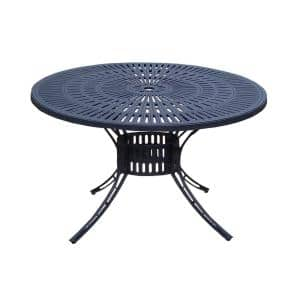 48 in. Black Round Cast Aluminum Outdoor Dining Table with Umbrella Hole