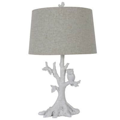27.75 in. Satin White Table Lamp with Owl