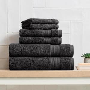 6-Piece Hygrocotton Towel Set in Black