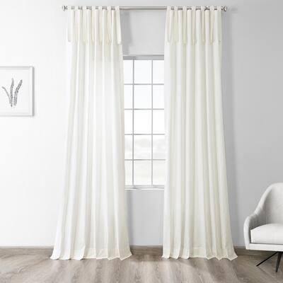 Fresh Popcorn Solid Tie Top Room Darkening Curtain - 50 in. W x 84 in. L