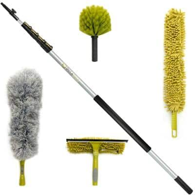 Microfiber Feather High Reach Cleaning Kit with 30 ft. Telescopic Extension Pole Window Squeegee Cobweb and Fan Dusters