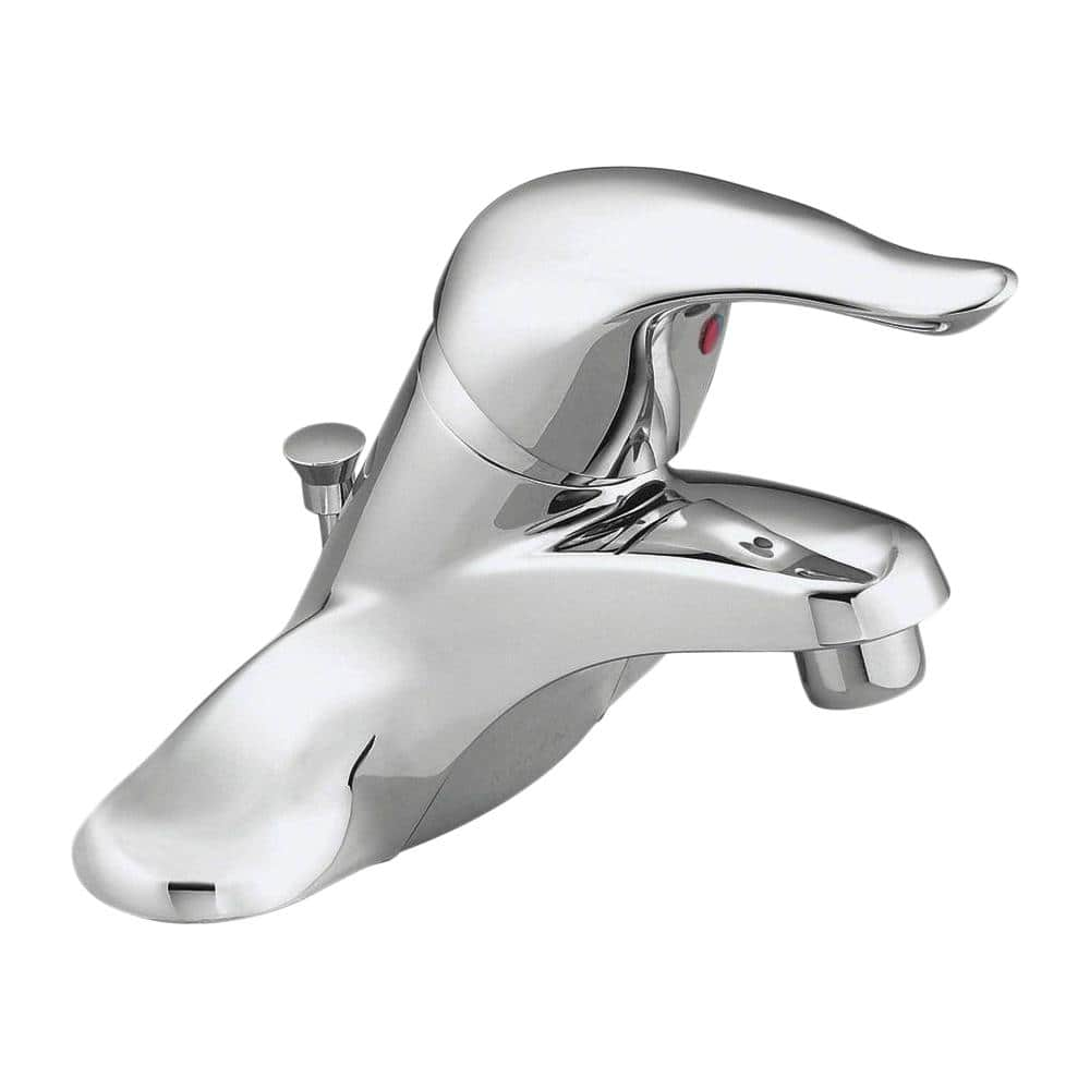 Moen Chateau 4 In Centerset Single Handle Low Arc Bathroom Faucet With Metal Drain Assembly Red Blue Under Spout In Chrome L4621 The Home Depot