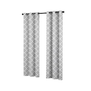 Fret  42 in. W x 84 in. L Blackout Window Curtain in Grey