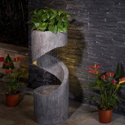 31.25 in. H Polyresin Curving Shaped Outdoor Fountain With Pump and LED Light