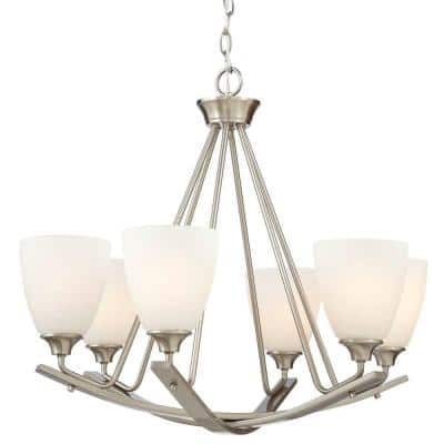 Stansbury Collection 26 in. 6-Light Brushed Nickel Chandelier with Etched Hammered Glass Shades