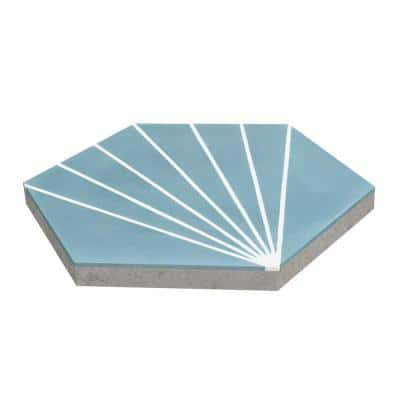 Spark C Stone Blue 8 in. x 9 in. Cement Handmade Floor and Wall Tile (Box of 16/ 5.93 sq. ft.)
