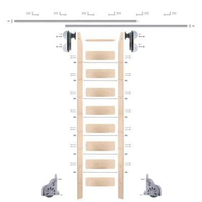 9 ft. Maple Library Ladder (10 ft. Reach), Polished Chrome Rolling Hook Hardware 12 ft. Rail and Horizontal Brackets