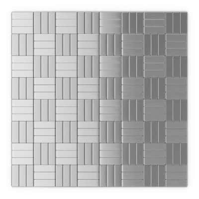 Take Home Sample - Loft Silver 4 in. x 4 in. x 0.2 in. Metal Peel and Stick Wall Mosaic Tile (0.11 sq. ft./Each)